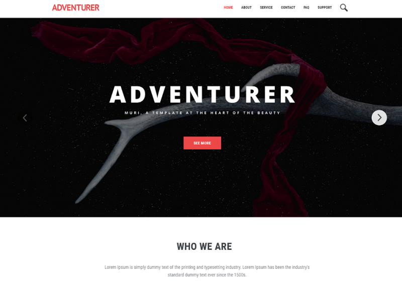 Adventurer – Free One Page Creative Template PSD