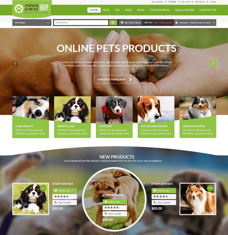 Animal & Pets Shop - Free Download PSD Template