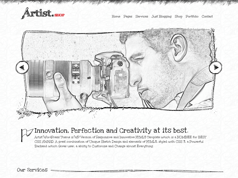 Artist WordPress Theme - Painter Exhibition Sketch Handcraft Writer Art Pencil Design ShowCase