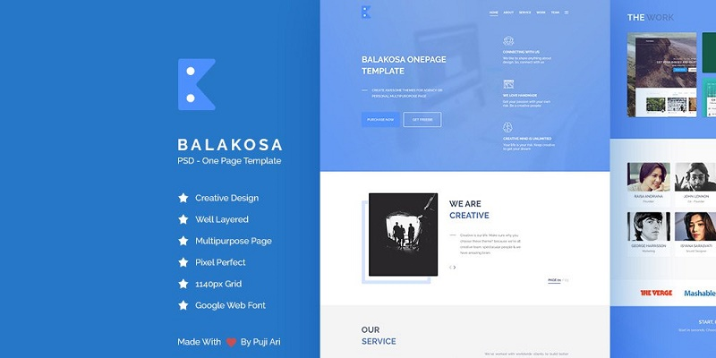 Balakosa – PSD One Page Template