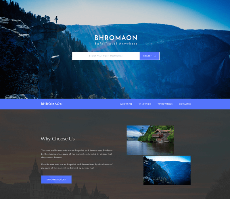 Bhromaon Travel Agency Free PSD Template