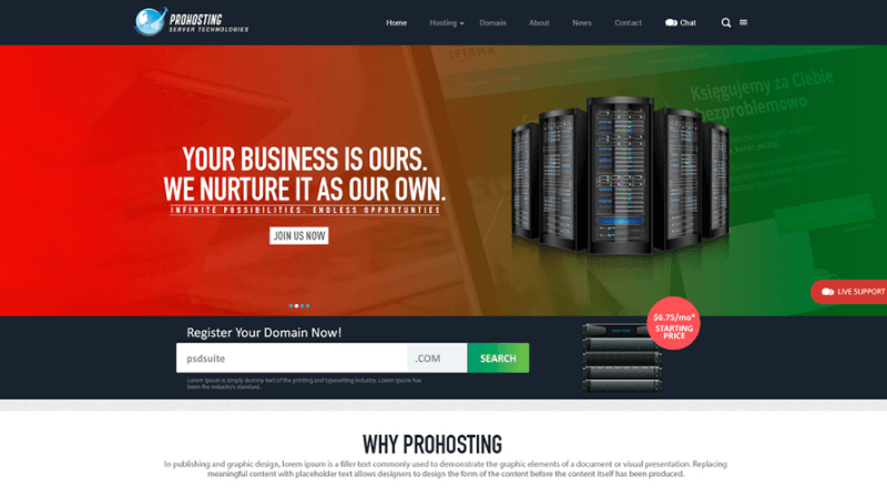 Download Web Hosting Website Template PSD Free