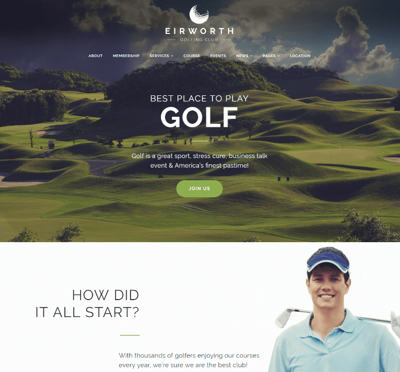Eirworth - Golfing Club Responsive WordPress Theme