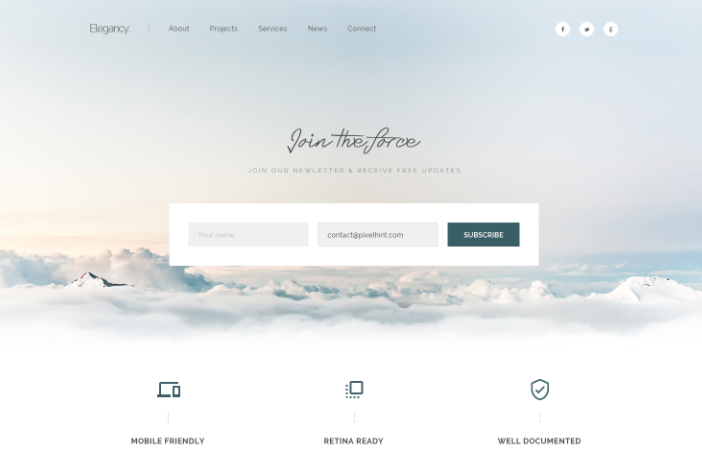 Elegancy – Free Single Page Web Template PSD