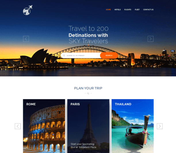 Free PSD Travel Template