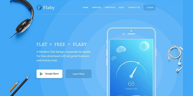 Flaby – Free Flat Landing Page PSD