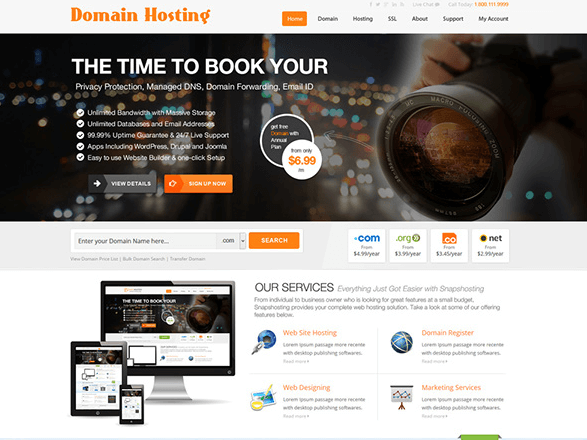 Free Clean Domain Hosting PSD