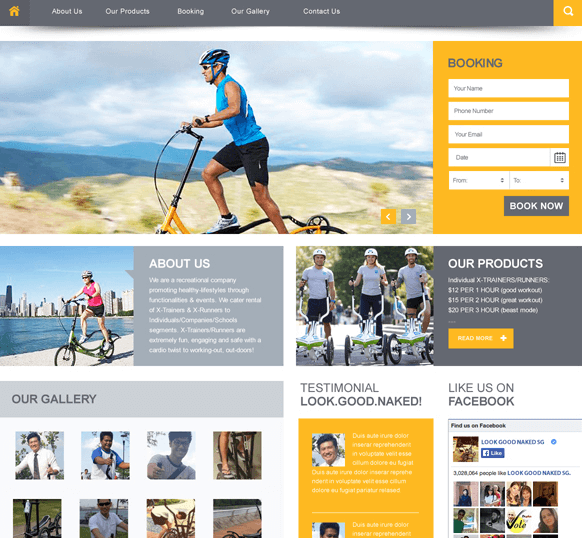 Free Health and Sport Website Template PSD