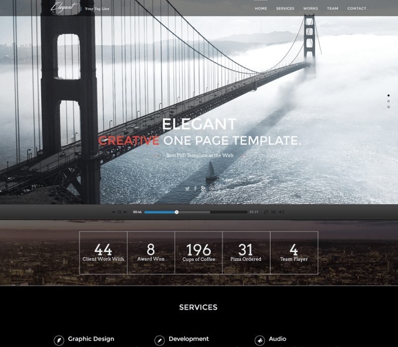 Free PSD Elegant onepage Template