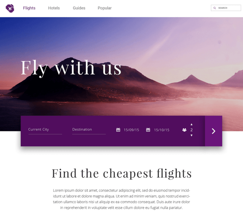 Free Travel Website PSD