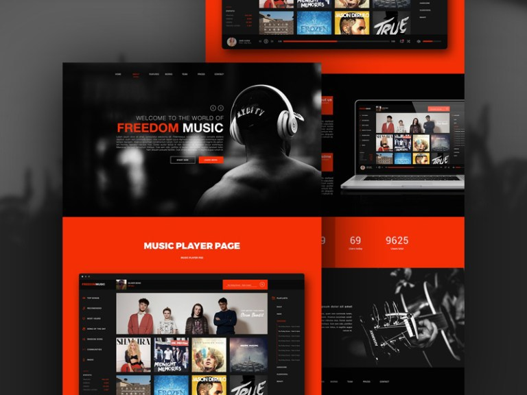 Freedom  Music PSD Web Template
