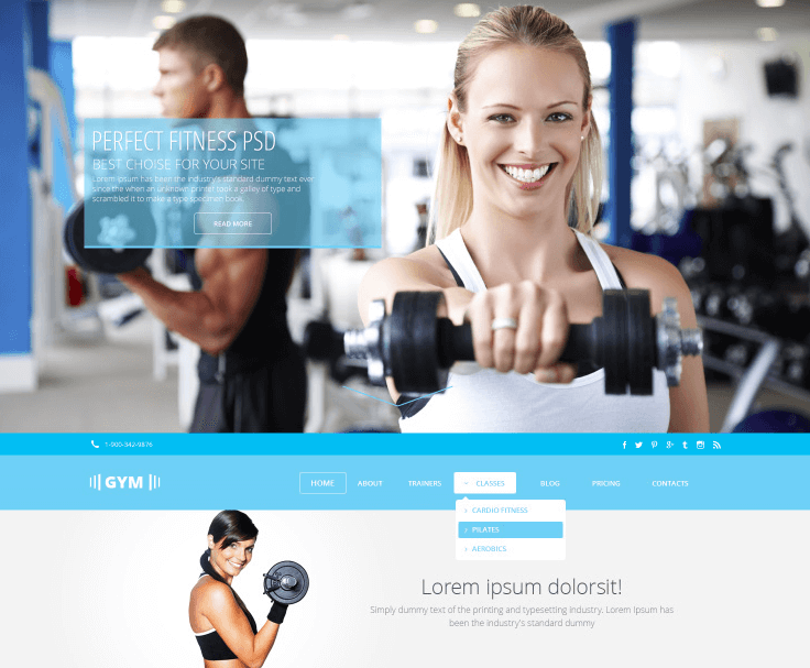 GYMSports Free PSD Template