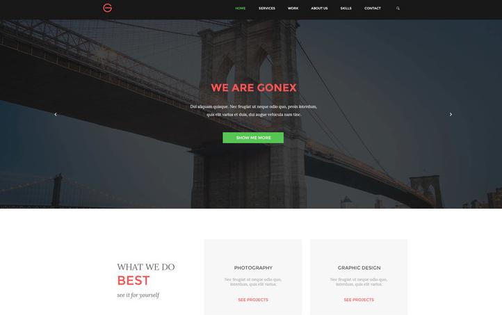 Gonex - Simple PSD Landing Page