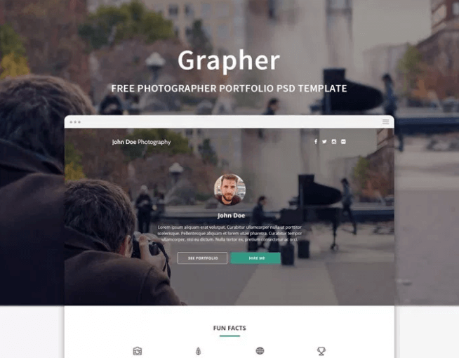 Grapher – Photographer portfolio free PSD web template