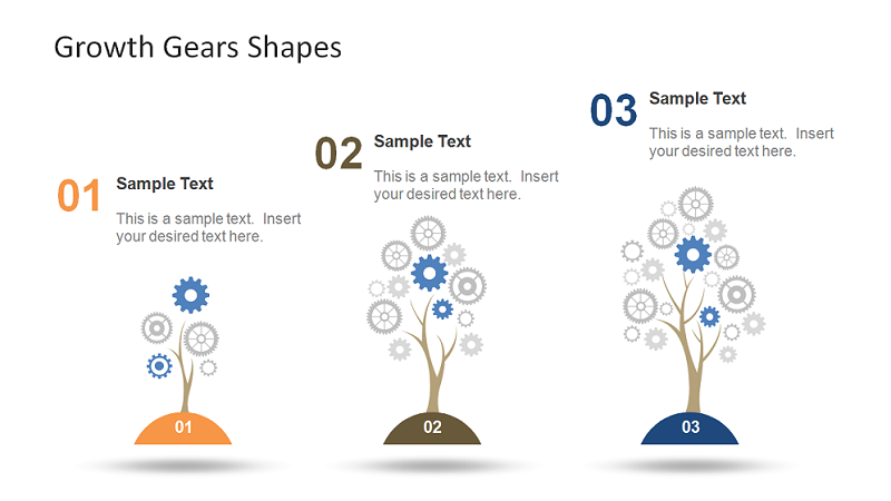 Growth Gear Shapes for PowerPoint