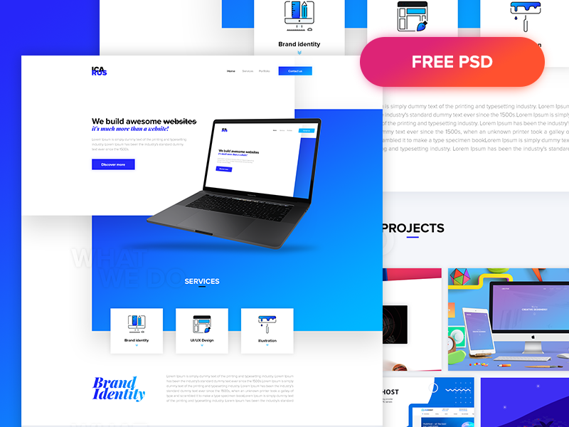 Icarus – Agency One Page Web Template PSD