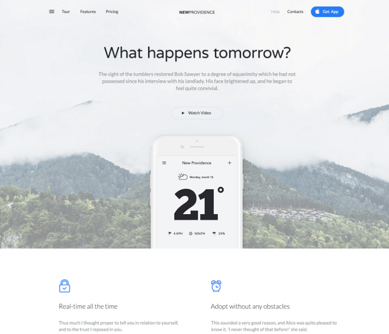 New Providence Landing Page PSD Template