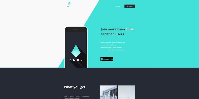 Nord – Free App Landing One Page Template PSD