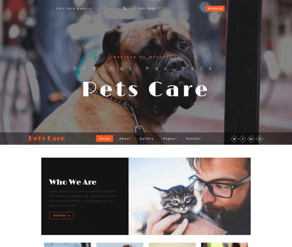 Pets Care PSD Web Template