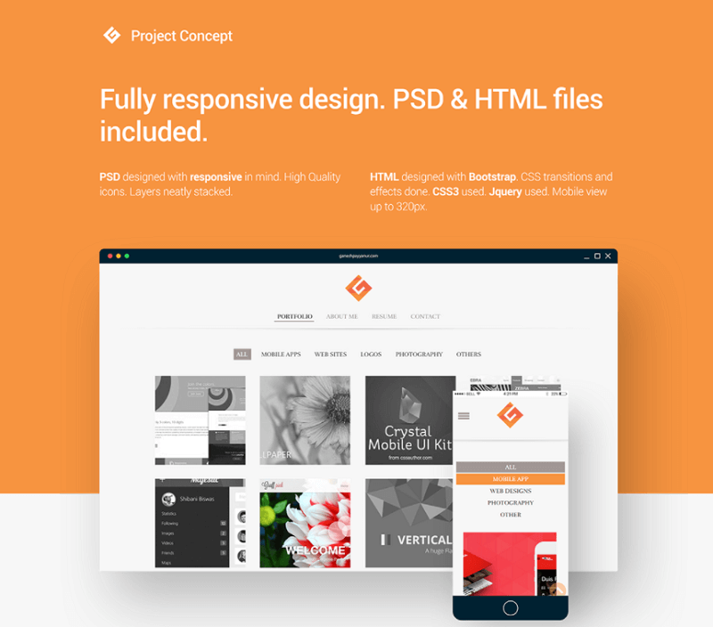 Portfolio Template PSD HTML Free Download
