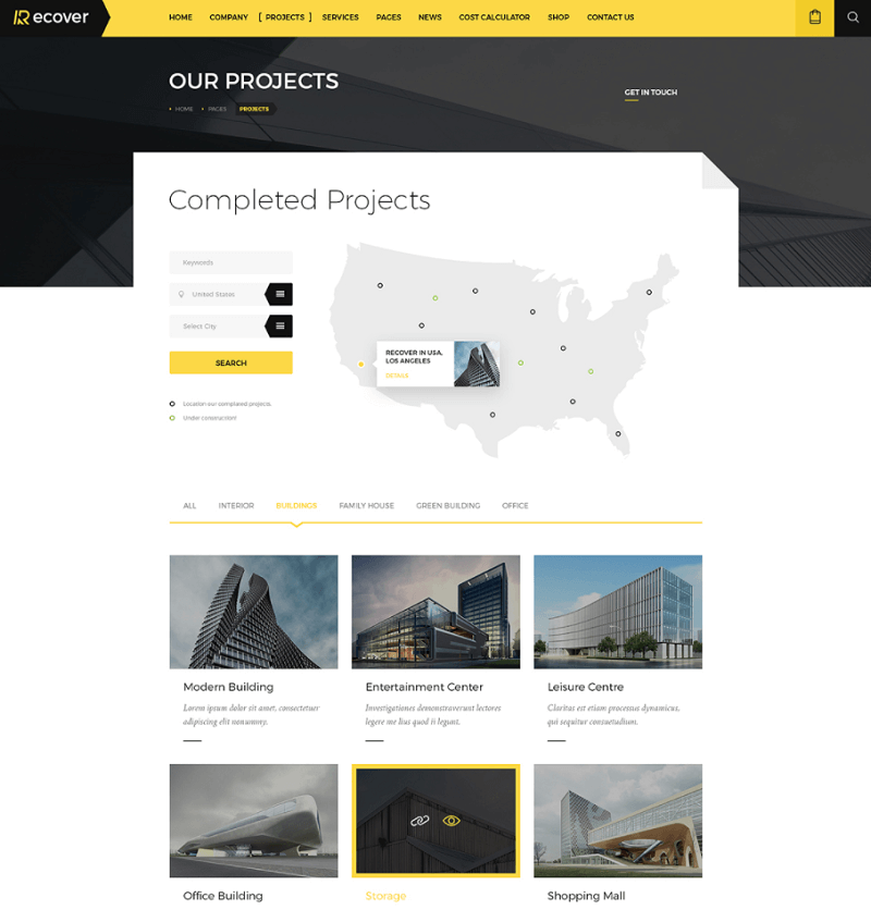 Recover - Free Construction & Building PSD Template
