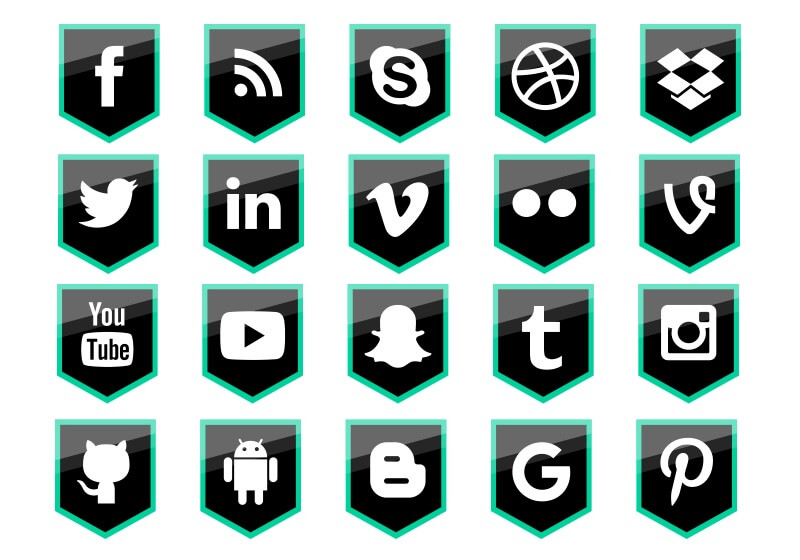 Social Media Shield Icons