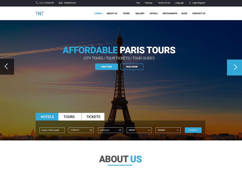 TNT - Tour And Travel Template PSD Freebie