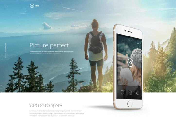 Take – Mobile App Landing Page PSD