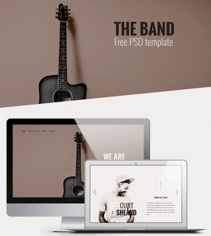 The Band – Free Music Related Web Template PSD