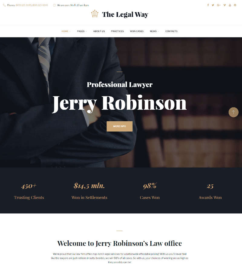 The Legal Way - Lawyer & Attorney WordPress Theme