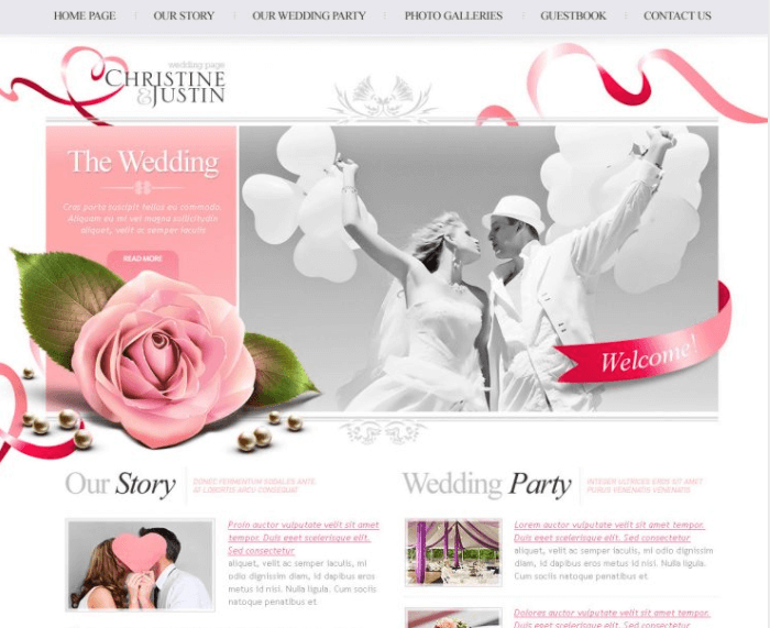 The Wedding PSD Website Free Template