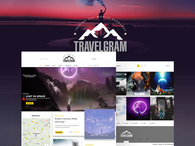 TravelGram- TravelBlog UI PSD Template (Free Download)