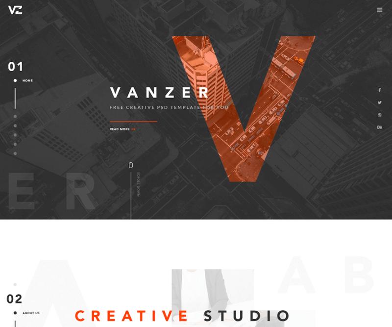 Vanzer – Free Portfolio Web Template PSD
