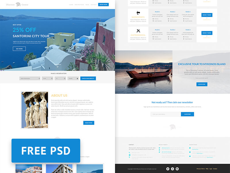 Discover Greece - Travel agency free PSD web design template