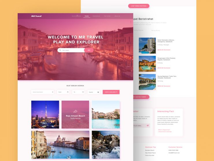 Clean Travel Website Template PSD