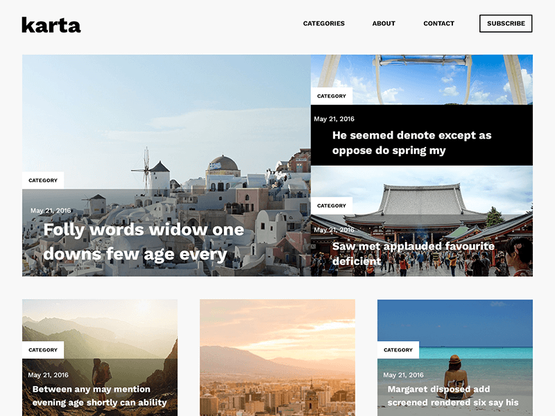 Karta, free travel blog psd