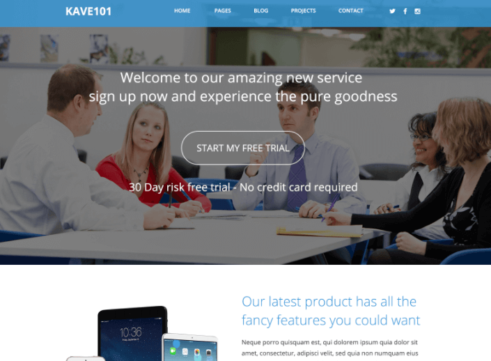 kave101 – Free Landing Page Template PSD