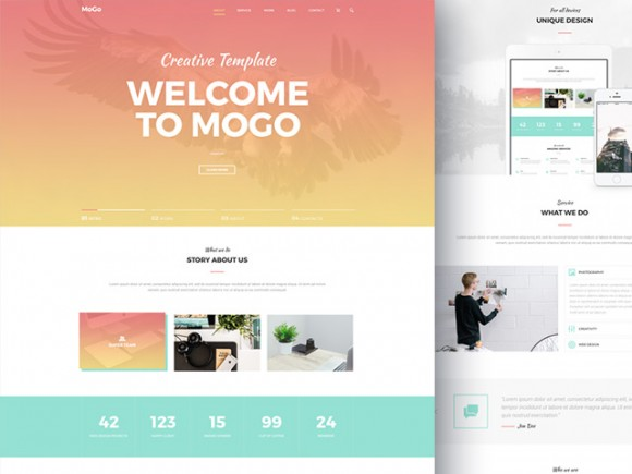 MoGo – Free One Page Web Template PSD