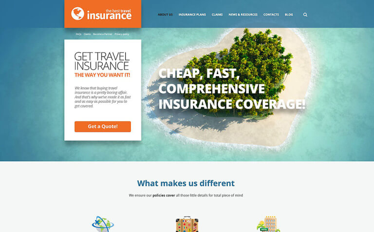 Travel Insurance Provider WordPress Theme