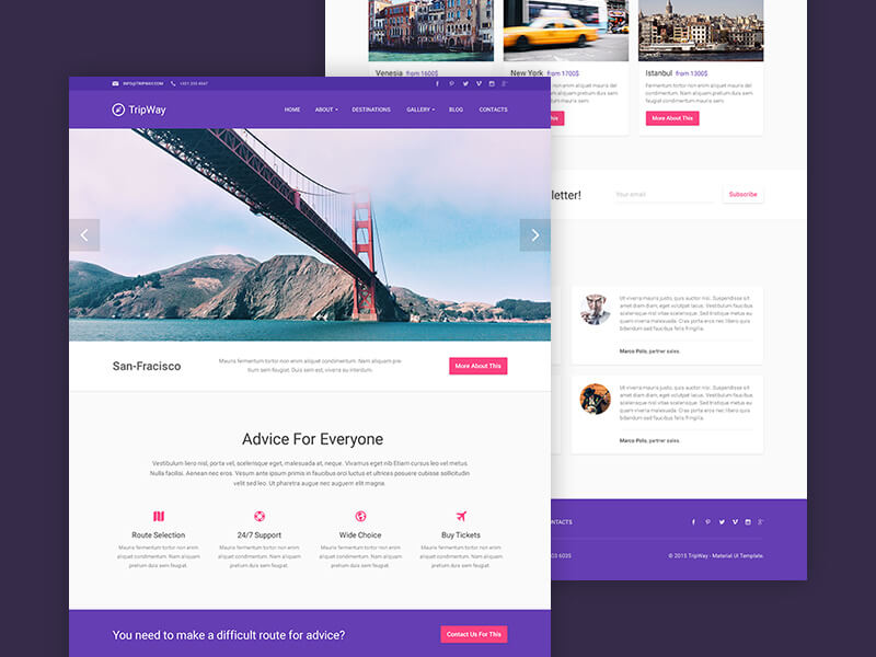 Freebie: Travel PSD Template