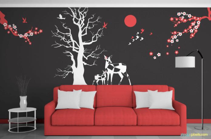 Decor and interior wall art mockup designs