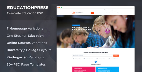 Education PSD Website Templates