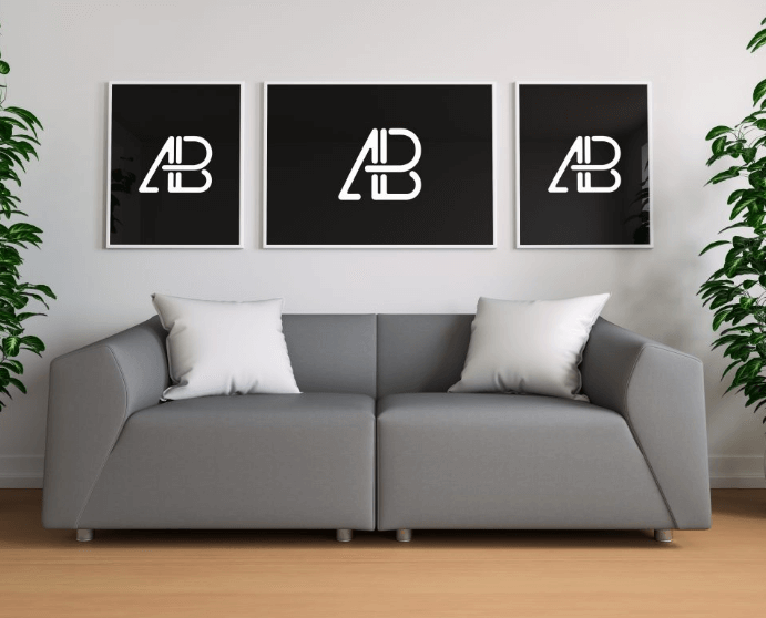 Triple Poster In Living Room