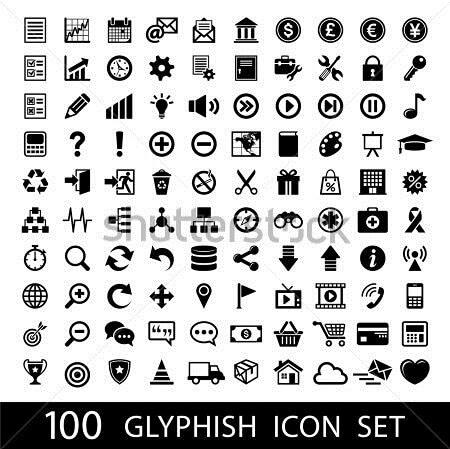100 Glyph Icon Set