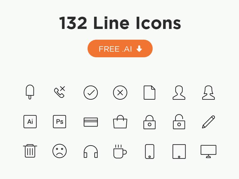 132 Line Icons (AI)