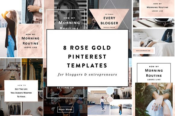 8 Rose Gold Pinterest Templates