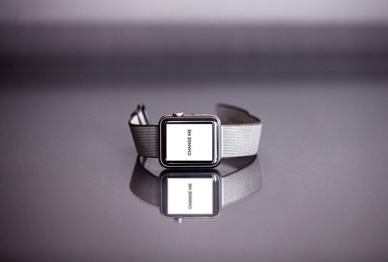 Silver Apple Watch with Reflection