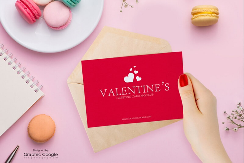 Valentines Greeting Card in Girl Hand