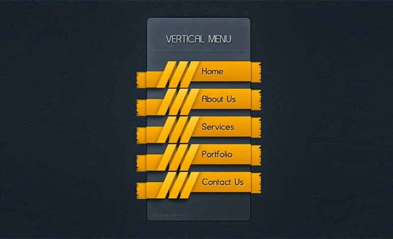 Vertical Menu with A Ribbon