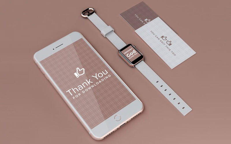 iPhone and Apple Watch UI and Branding Mockup